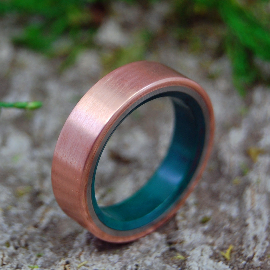 FLAT COPPER MOXIE | Jade & Copper Titanium Men's Wedding Rings - Minter and Richter Designs