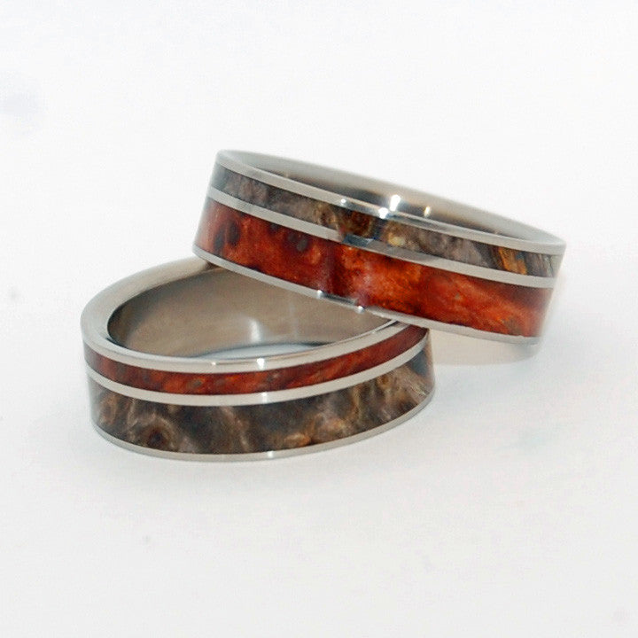 FAITH IS THE LINK BETWEEN ANGELS | California Buckeye Wood - Unique Wooden Wedding Rings Set - Minter and Richter Designs