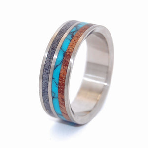 Faraday | Turquoise and Wood Titanium Wedding Ring - Minter and Richter Designs