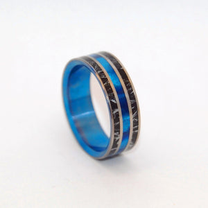 LOVE & HONOR | Black Silver M3 & Blue Resin - Titanium Wedding Rings - Minter and Richter Designs