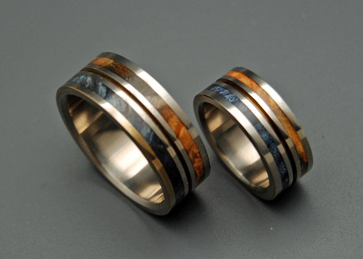 SUN & MOON | Box Elder Wood & Titanium - Unique Wedding Rings Set - Minter and Richter Designs