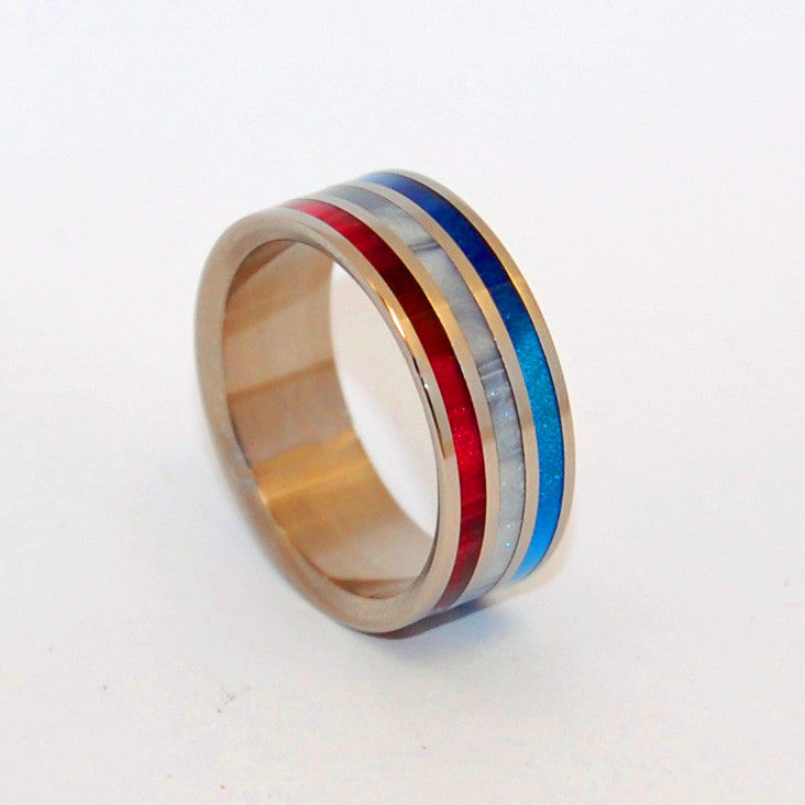 PATRIOT | Gray Pearl Opalescent, Red & Blue Marbled Resin - Handcrafted Titanium Wedding Rings - Minter and Richter Designs