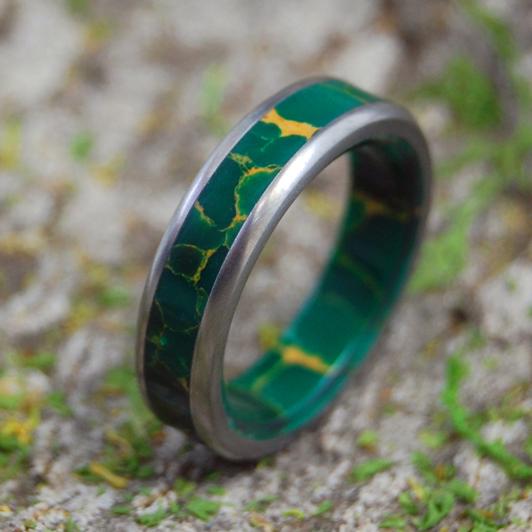 GOD OF WOLVES | Jade Stone & Titanium Wedding Rings - Minter and Richter Designs