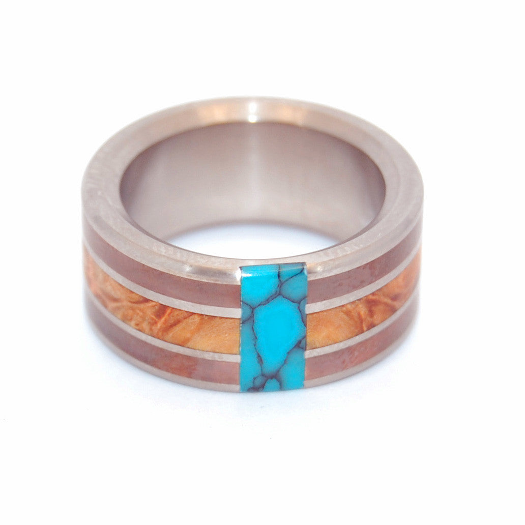 GOOD MAN | Golden Box Elder, Copper & Turquoise Titanium Rings, Unique Wedding Rings - Minter and Richter Designs