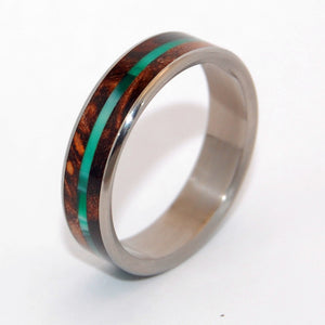 FLYER | Green Vintage Resin & Dark Maple Wood Unique Titanium Wedding Rings - Minter and Richter Designs