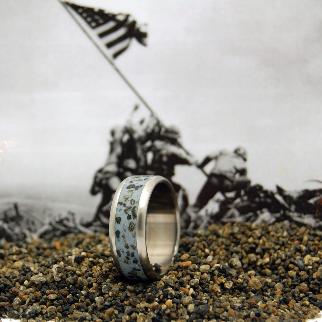 GRAY DAWN AT IWO JIMA | Iwo Jima Beach Sand Military Memorial Wedding Rings - Minter and Richter Designs