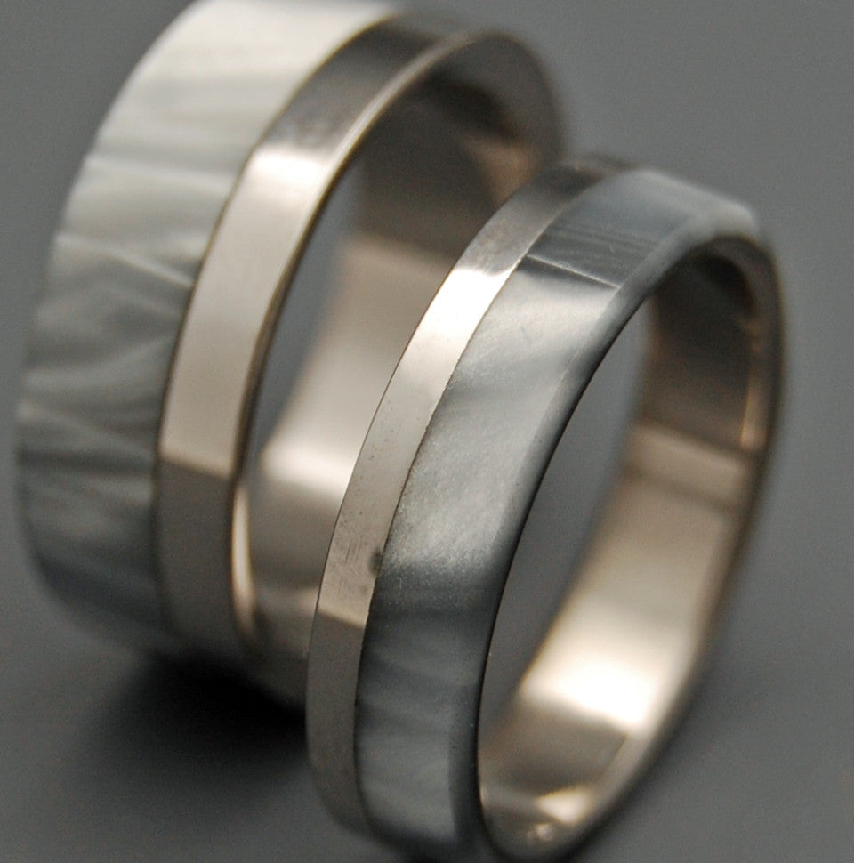 SMOKE & MIRRORS | Gray Pearl Opalescent & Titanium - Unique Wedding Rings - Wedding Rings Set - Minter and Richter Designs