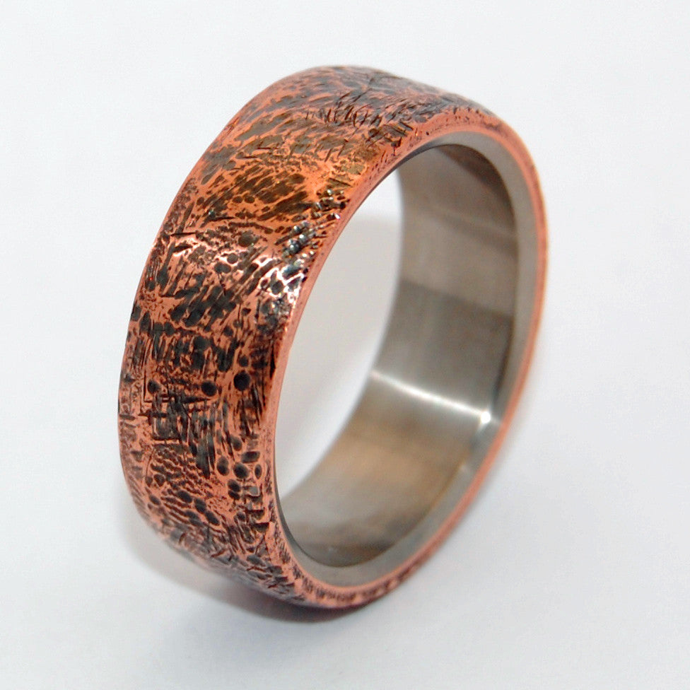 BEATEN COPPER | Hand Beaten Copper Titanium Men's Wedding Rings - Minter and Richter Designs