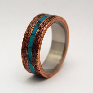 ONE SOUL | Turquoise Hand Beaten Copper Titanium Men's Ring - Minter and Richter Designs