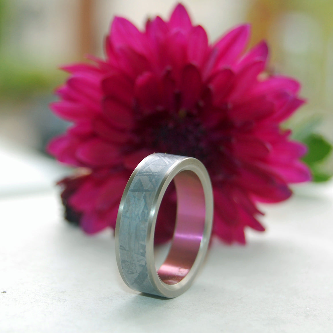 HEAVY HITTER | Meteorite & Pink Anodized Titanium Rings, Unique Men's Wedding Bands - Minter and Richter Designs