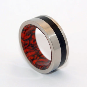 Hephaestus - god of Fire | Horn and M3 Titanium Wedding Ring - Minter and Richter Designs