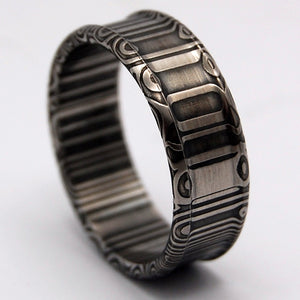 A Hero Walks Alone - Damasteel | Handcrafted Men's Wedding Rings