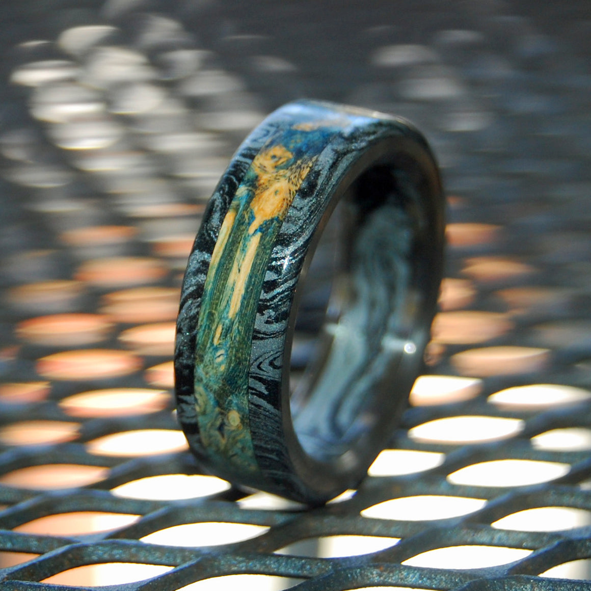 HUMBLE GREEK GOD  | Wood & Black Silver M3 Titanium Wedding Rings - Minter and Richter Designs