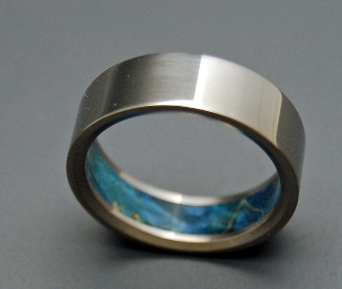 HUMBLE BLUE | Blue Box Elder Wood & Titanium - Unique Wedding Rings - Titanium Wedding Rings - Minter and Richter Designs