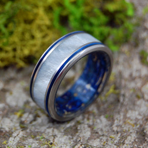 HURRICANE LOVE | Box Elder Wood & Gray Pearl Opalescent Blue Wedding Rings - Minter and Richter Designs