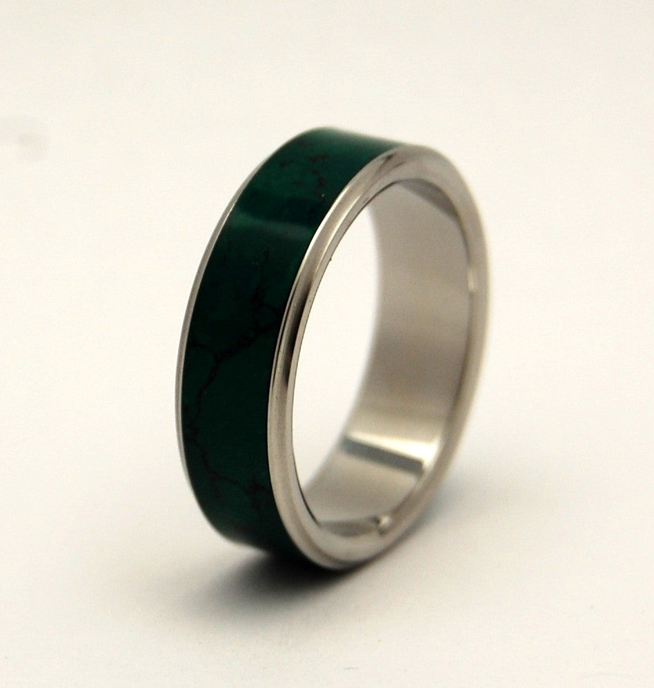 STONE OF HEAVEN | Imperial Jade Titanium Wedding Rings - Minter and Richter Designs