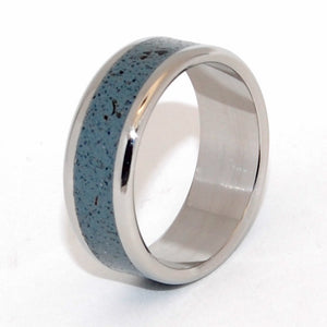 OPALUS | Beach Sand & Titanium - Handcrafted Wedding Rings - Blue Rings - Minter and Richter Designs