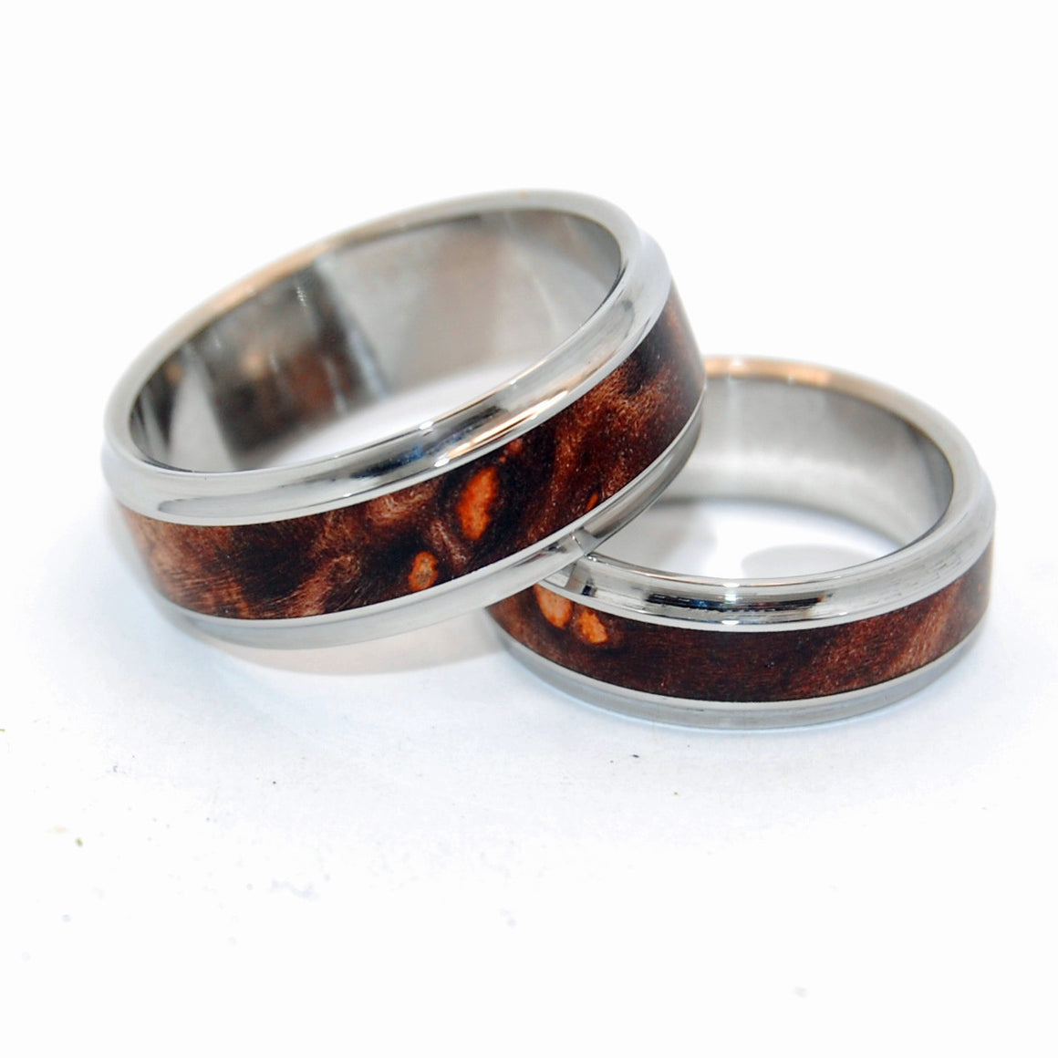 WINDHAM | Dark Maple Wood & Steel Wedding Rings - Unique Wedding Rings set - Minter and Richter Designs
