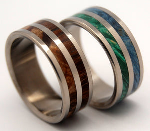 JUNGLE BEAR | Box Elder Wood & Cocobolo Wood - Unique Wedding Rings - His and Hers Titanium Wedding Rings Set - Minter and Richter Designs