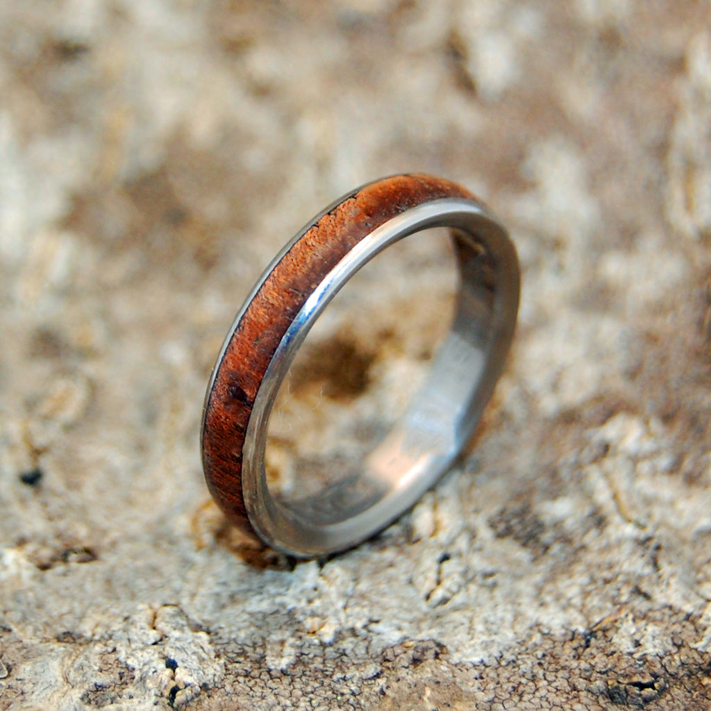 Koa Wood Dome | Wooden Titanium Wedding Ring