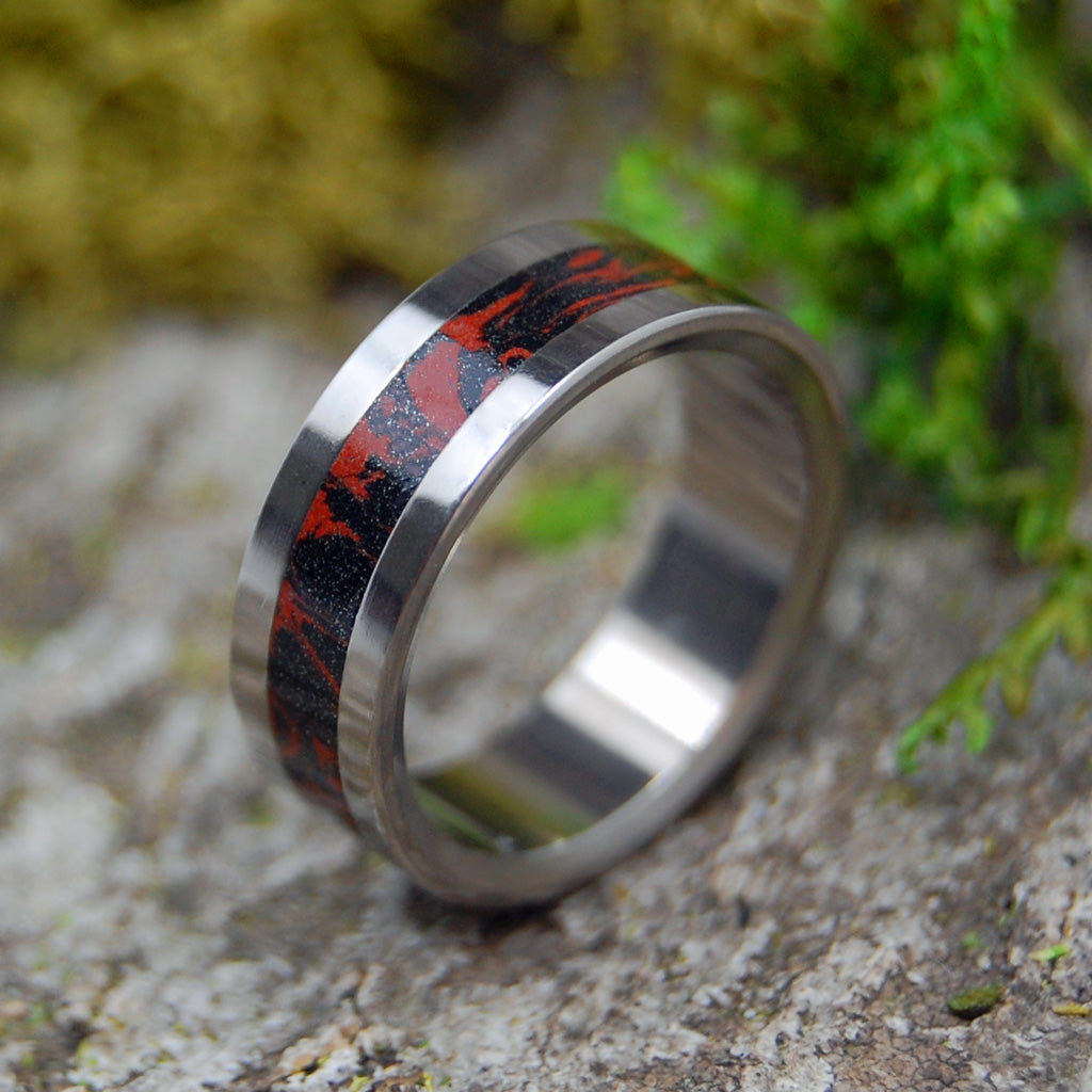 Lava | SIZE 6.25 AT 6.4MM | Black & Red M3 | Unique Wedding Rings | On Sale - Minter and Richter Designs
