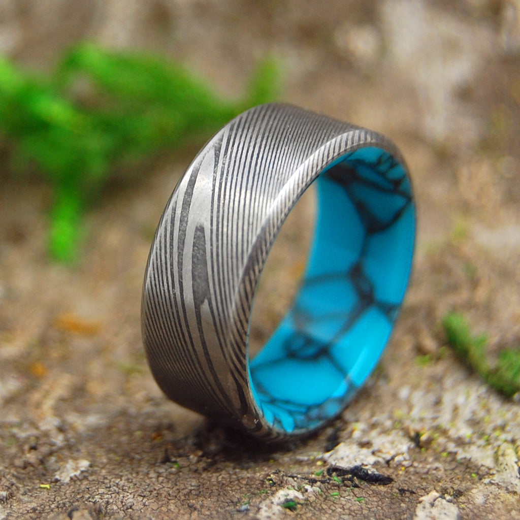LAKE EVEREST | Damasteel Damascus & Turquoise Men's Wedding Rings - Minter and Richter Designs