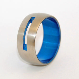 LET LOVE SHINE THROUGH | Blue Anodized Titanium Wedding Rings - Minter and Richter Designs