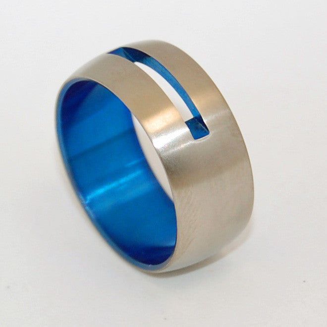 Let Your Love Shine Through Blue | Blue Anodized Titanium Wedding Ring