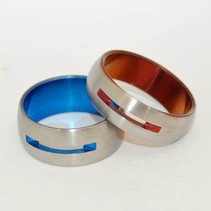 Let Your Love Shine Through Blue and Bronze | Anodized Titanium Wedding Ring Set