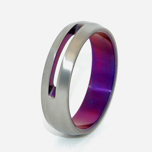 LET LOVE SHINE THROUGH | Purple Anodized Titanium Wedding Rings - Minter and Richter Designs