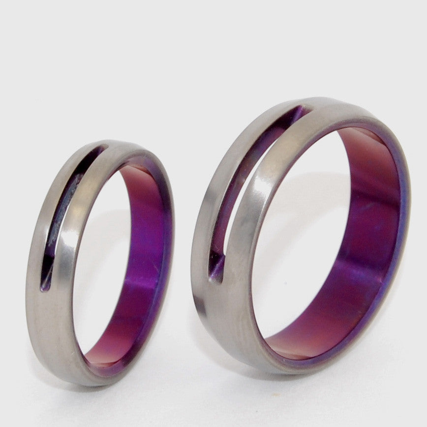 LET LOVE SHINE THROUGH | Purple Anodized Titanium Wedding Rings Set - Minter and Richter Designs