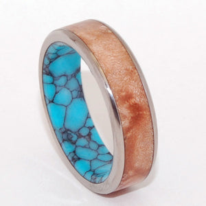 CONIFER | Light Maple Wood & Turquoise Unique Wedding Rings Titanium Rings - Minter and Richter Designs