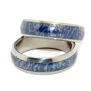 LIVING SAINT | Blue Silver M3 - Titanium Wedding Bands - Unique Wedding Rings - Minter and Richter Designs