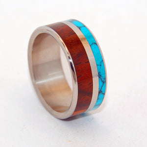 Love and Beyond | Turquoise and Wood - Titanium Wedding Ring