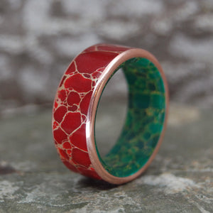 MAD MAX | Red Jasper Stone & Egyptian Jade Copper Titanium Wedding Rings - Minter and Richter Designs