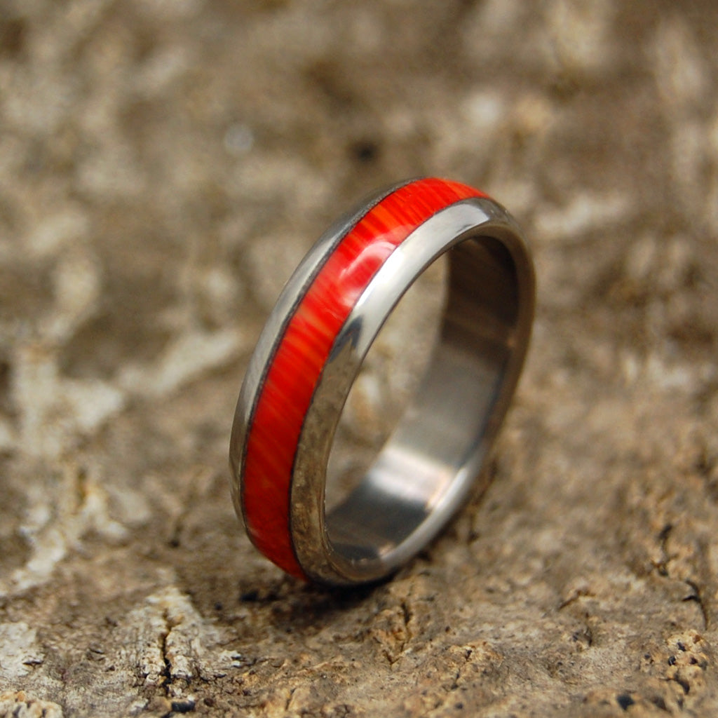 Mad Coral Sea Dome | Wooden Titanium Wedding Ring