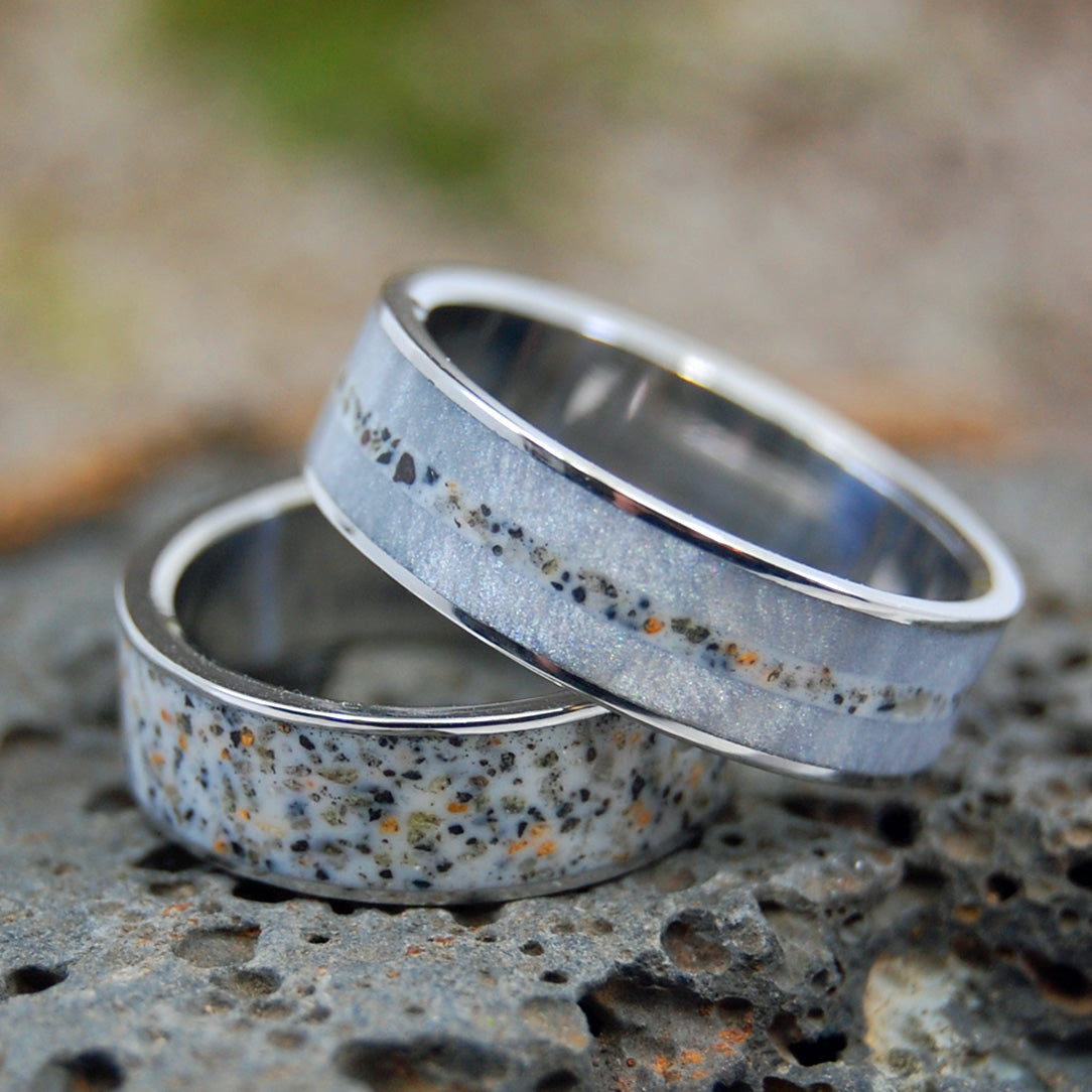 Beach Sand Wedding Ring Set - Beach Wedding Rings | OUR PATH TO THE BEACH