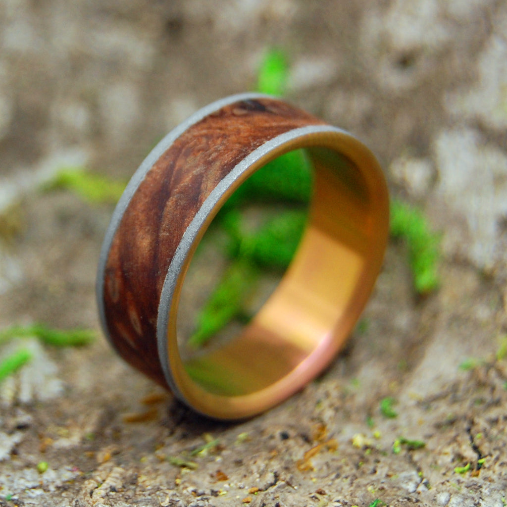 Mens Ring - Redwood Burl - Titanium Wedding Ring | MIGHTY SUNSET