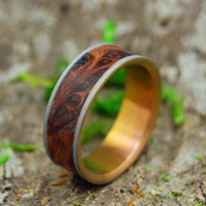 MIGHTY SUNSET | Redwood Burl Titanium Wedding Rings - Minter and Richter Designs