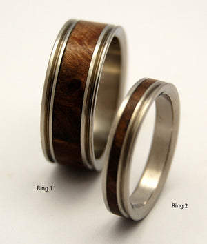 MIRACLES HAPPEN | Dark Maple Wood & Titanium - Unique Wedding Rings Set - Minter and Richter Designs
