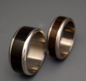 MOLUCCAS MACCASSAR | Ebony Wood & Titanium - Unique Wedding Rings Set - Minter and Richter Designs