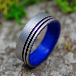 MY HEART.  YOU OWN IT. | Sodalite Stone & Anodized Purple Pinstriped Titanium Wedding Rings - Minter and Richter Designs