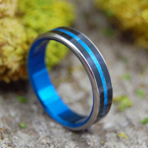 ORION | Onyx Stone & Blue Resin - Handcrafted Women's Titanium Wedding Rings - Minter and Richter Designs