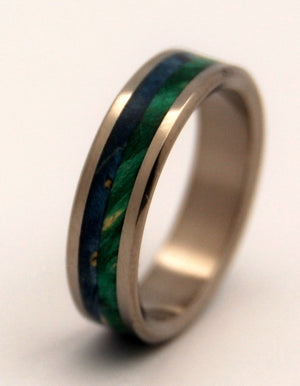 ON SEA AND ON LAND | Blue & Green Box Elder Wood - Unique Wedding Rings - Minter and Richter Designs