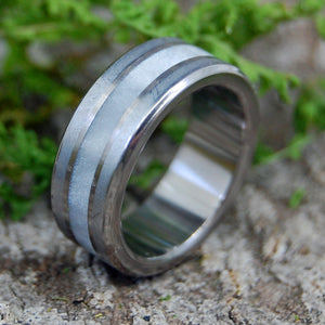 ON COMET | Meteorite & Gray Pearl Opalescent Titanium Wedding Rings - Minter and Richter Designs