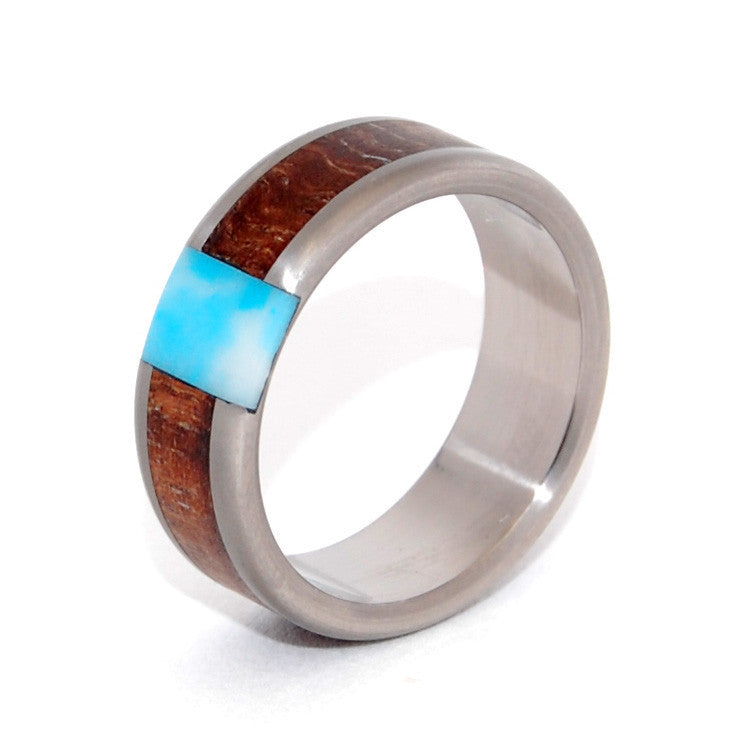 PASSING CLOUDS | Larimar Stone, Hawaiian Koa Wood - Wooden Wedding Rings - Minter and Richter Designs