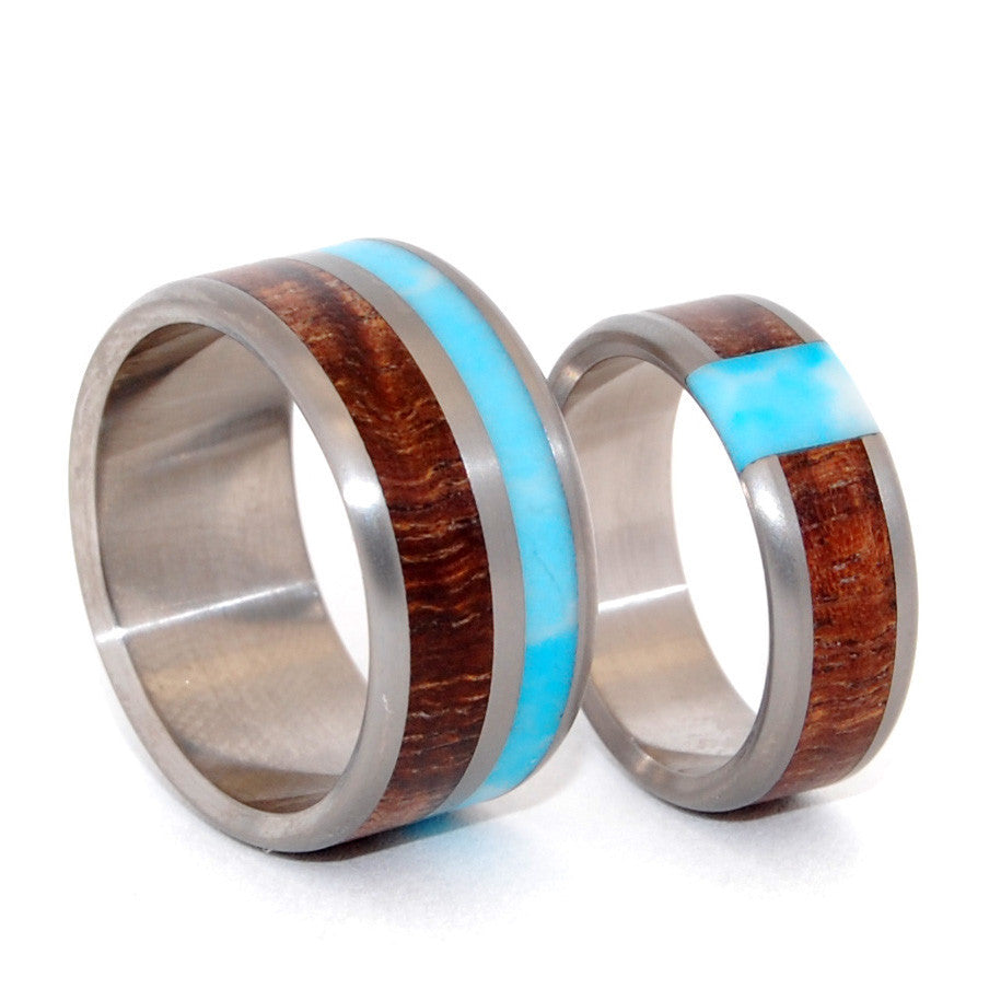 PASSING CLOUDS | Larimar Stone, Hawaiian Koa Wood - Wooden Wedding Rings Set - Minter and Richter Designs