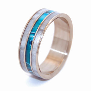 Peek Through Aquatic Blue | Handcrafted Titanium Wedding Ring - Minter and Richter Designs