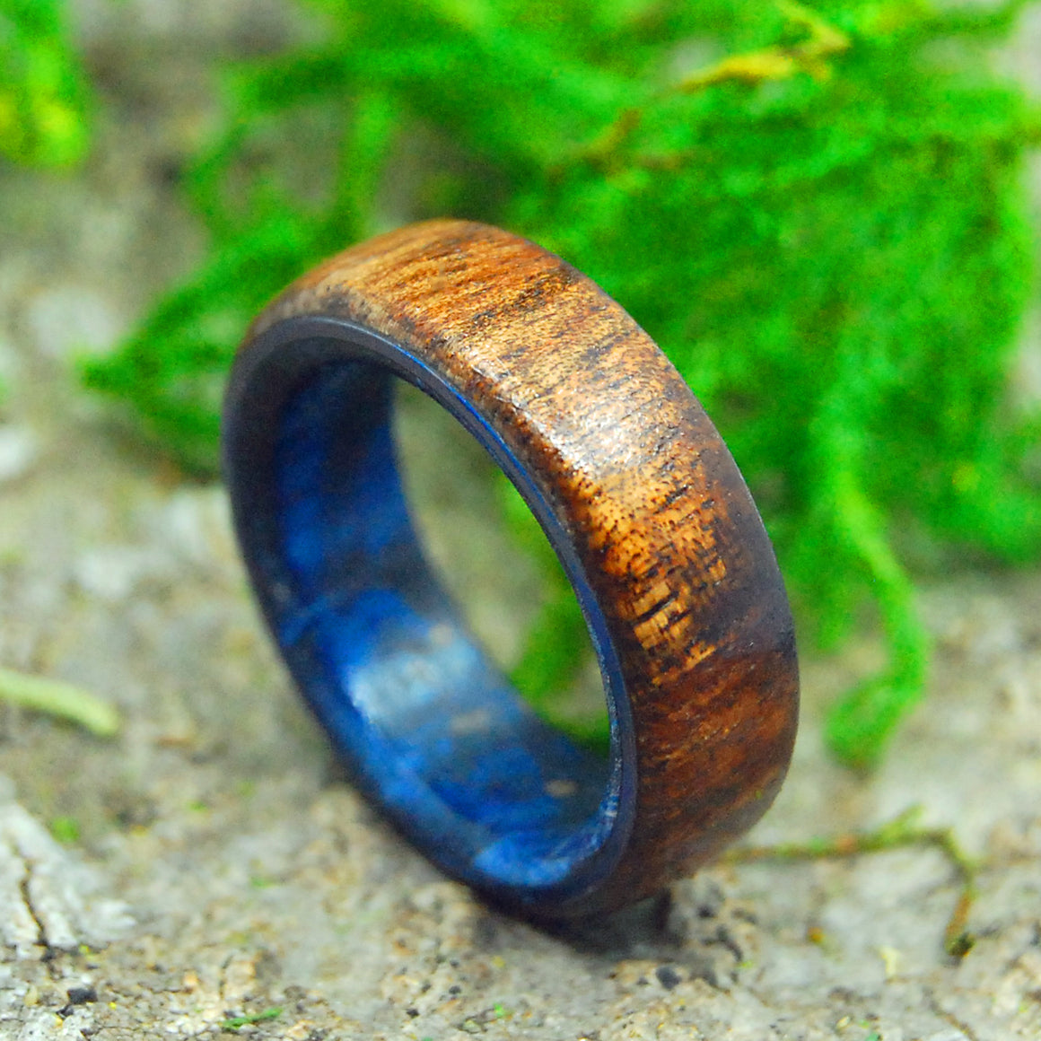 POSEIDON | Koa Wood & Blue Box Elder Titanium Wedding Rings - Minter and Richter Designs
