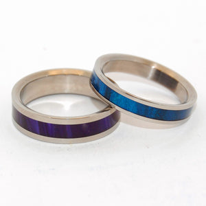 PURPURA HYACINTHUM | Blue Resin & Purple Resin - Unique Wedding Rings Set - Minter and Richter Designs